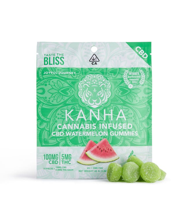 Kanha Cannabis Infused CBD Watermelon Gummies 5 MG THC for CannaSafe Father's Day