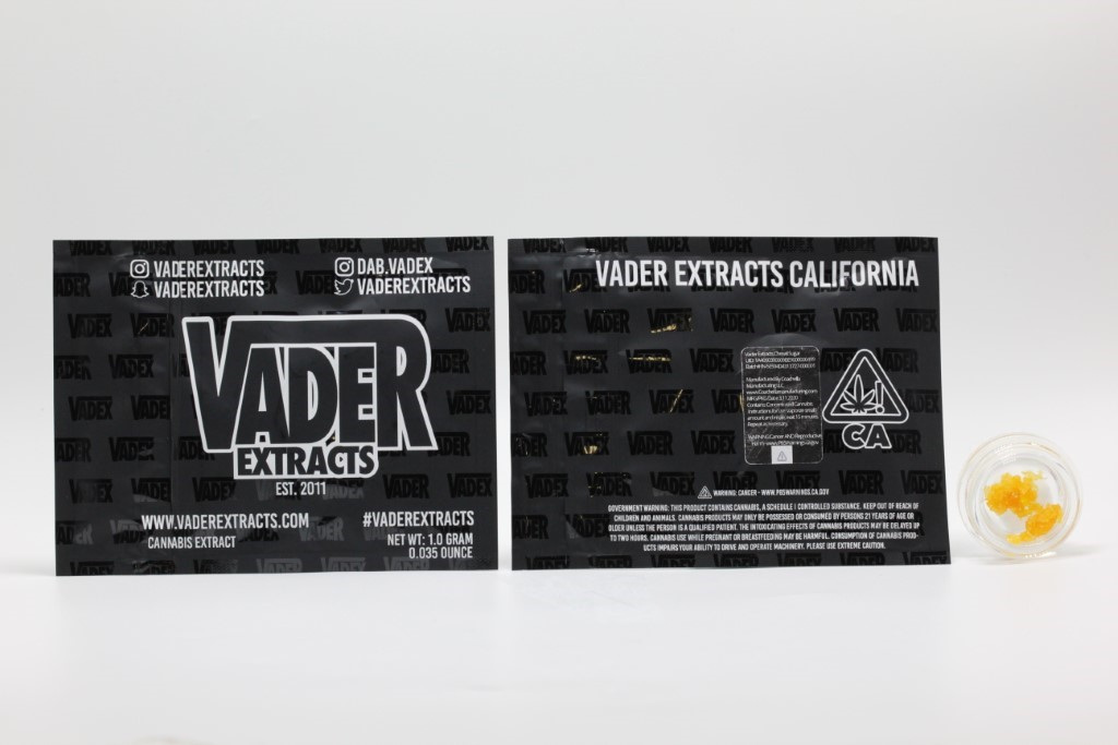 CannaSafe Vader Extracts packaging with concentrates in glass container