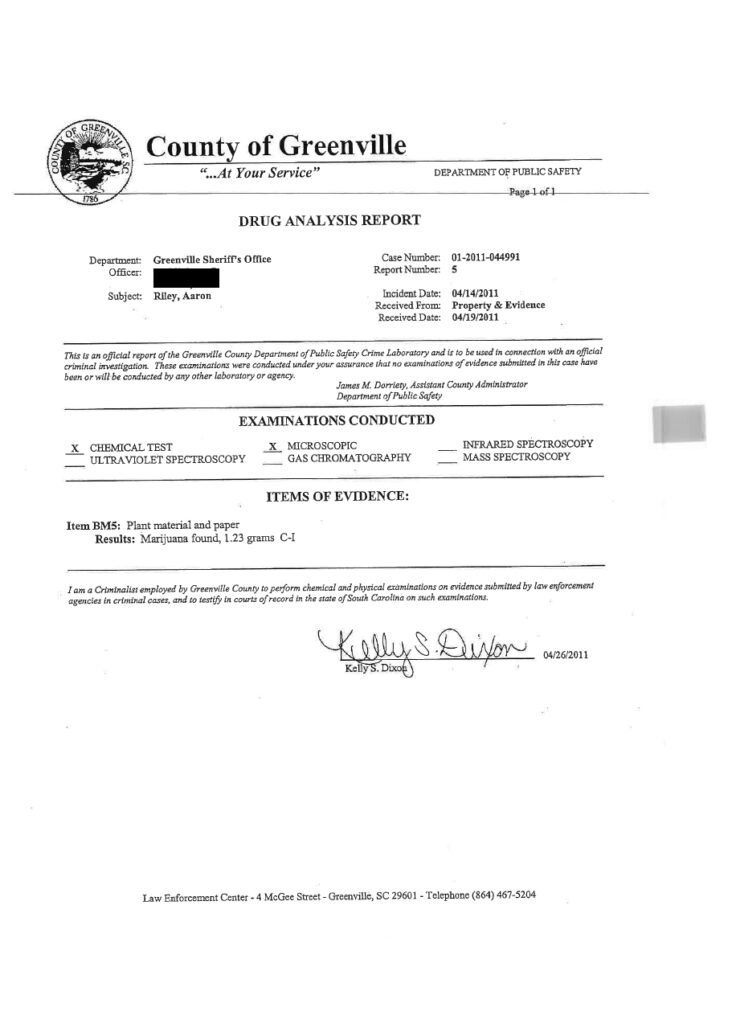 CEO of CannaSafe Aaron Riley Arrest Report from Greenville County Sheriff's Office
