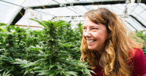 CannaSafe woman smiling at cannabis plant in greenhouse